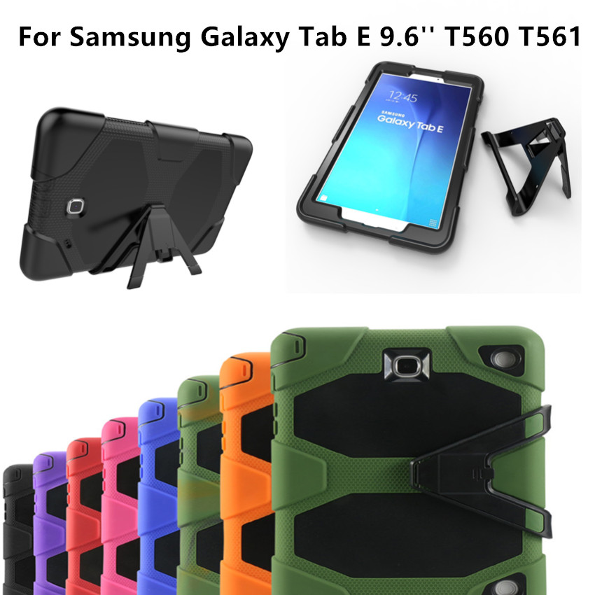the latest 643e0 aebd1 US $21.99 |For Samsung Galaxy Tab E 9.6'' T560 T561 New Fashion Shockproof  Hard case Military Heavy Duty Silicone Rugged Stand Cover-in Tablets & ...