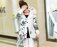 New Women's Down Jacket Fashion Long Section Jackets Female Raccoon Fur Printing Parka Hooded  Feminine Coat C888