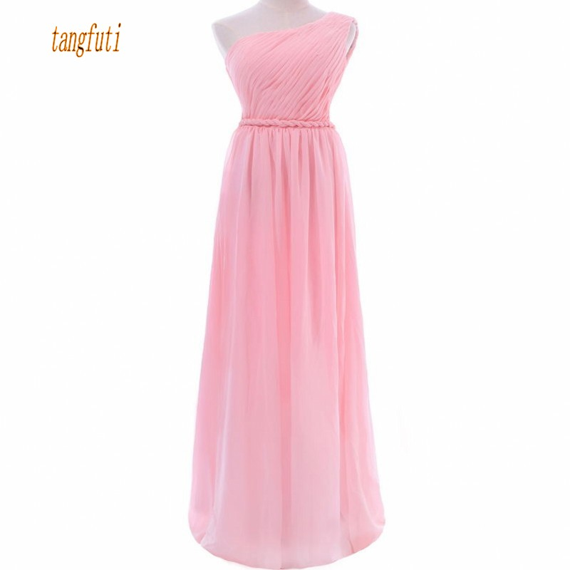 Bridesmaid     Dresses   For Women Long Chiffon A Line Pleats Pink Wedding Party   Dress