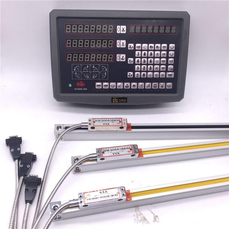 Chaude prix de DRO Complète kit HXX Moulin Tour 3 axes DRO numérique lecture affichage et 3 pcs haute précision optique linéaire verre échelle