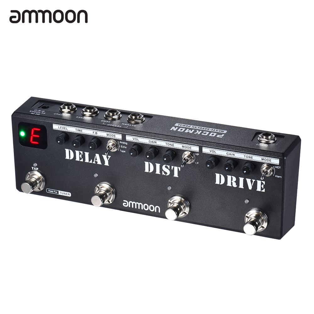 ammoon Guitar Pedal POCKMON Multi Effects Looper Guitar Effect Pedal Strip Tuner Delay Distortion Overdrive FX