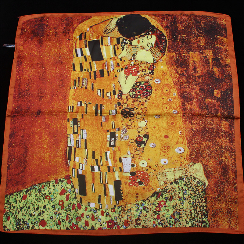 2019 New Arrival Twill silk   scarf   Women Klimt oil painting kiss Design print shawls&  wraps   Female Foulard Kerchief 55cm*55cm