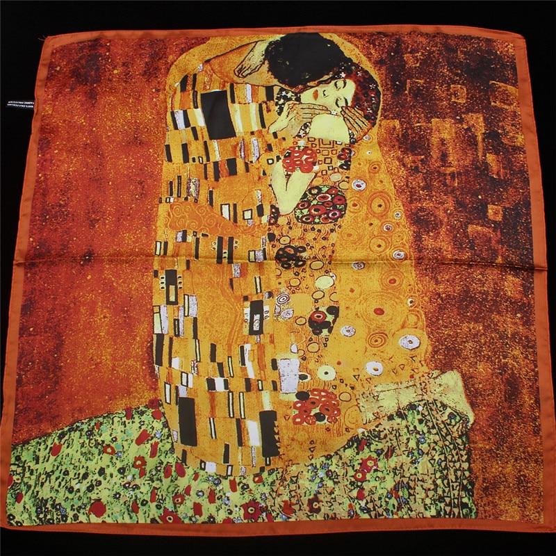 2019 New Arrival Twill silk   scarf   Women Klimt oil painting kiss Design print shawls&  wraps   Female Foulard Kerchief 55cm*55cm