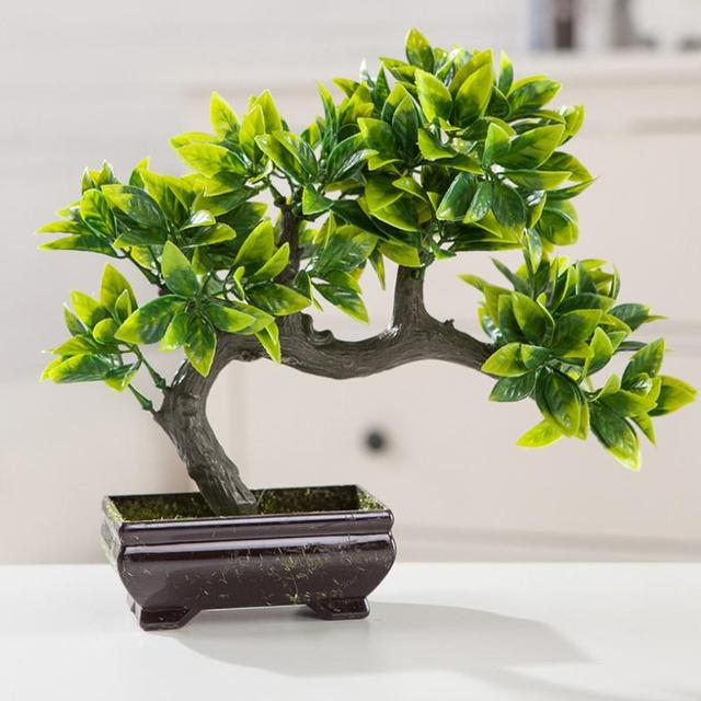 High Simulation Yingkesong Fake Flowers Small Potted Plants Bonsai Tree Ornaments Plant