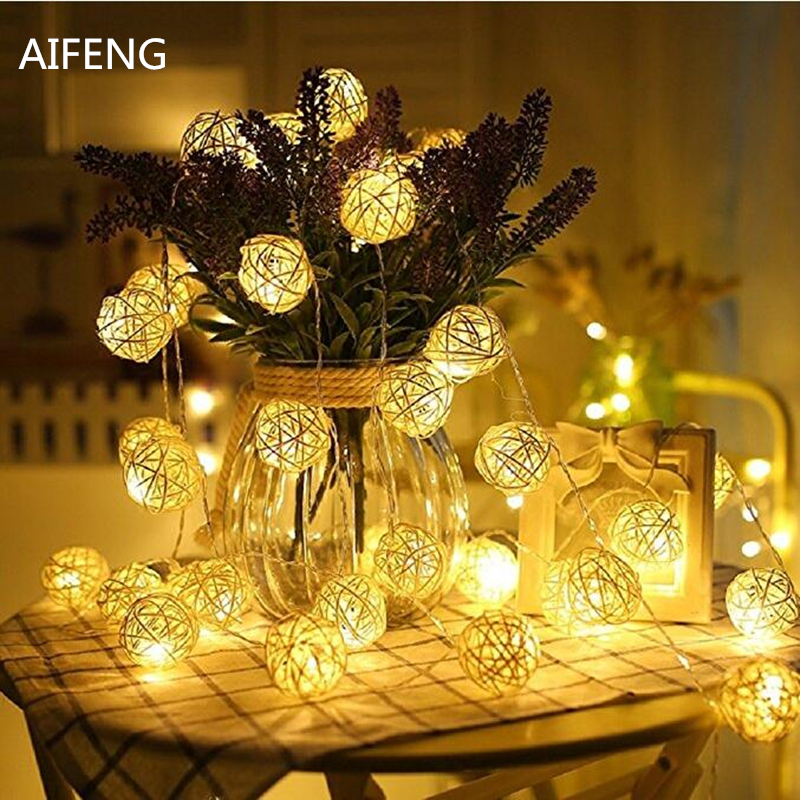 AIFENG 10M/ 5M/ 2.5M /1.2M Led Rattan Ball String Light Led Fairy Lights For Party Christmas Wedding Decoration LED Garland
