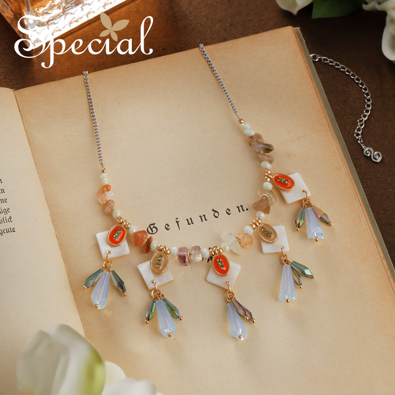 Special New Fashion Maxi Necklace Waterdrop Sea Shell Necklaces & Pendants Natural Opal Crystal Jewelry for Women S2744N