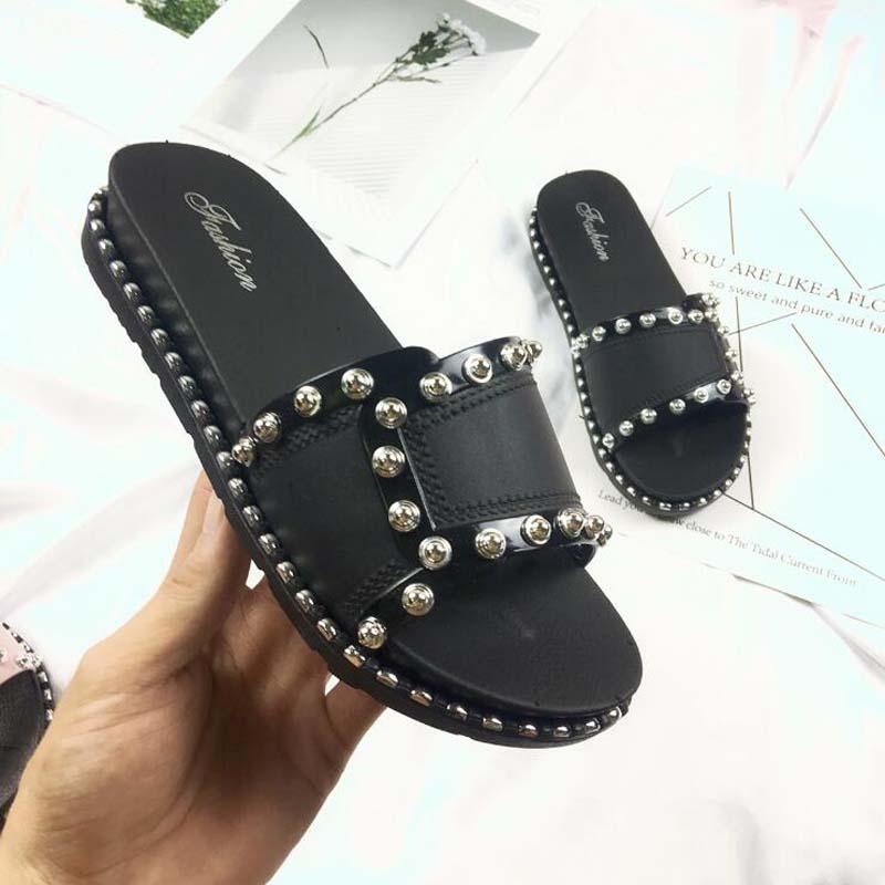 Frauen Schuhe Schuhe Mode Koreanische Offene Spitze Flache Hausschuhe Frau Sommer Nieten Allgleiches Muffin Sandalen Mädchen Schwarz/weiß/rosa Rutschen Ausflug Damen