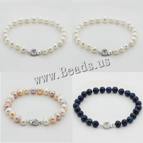100% real natural freshwater pearl bracelet mixed color cultured genuine pearl bracelet for woman
