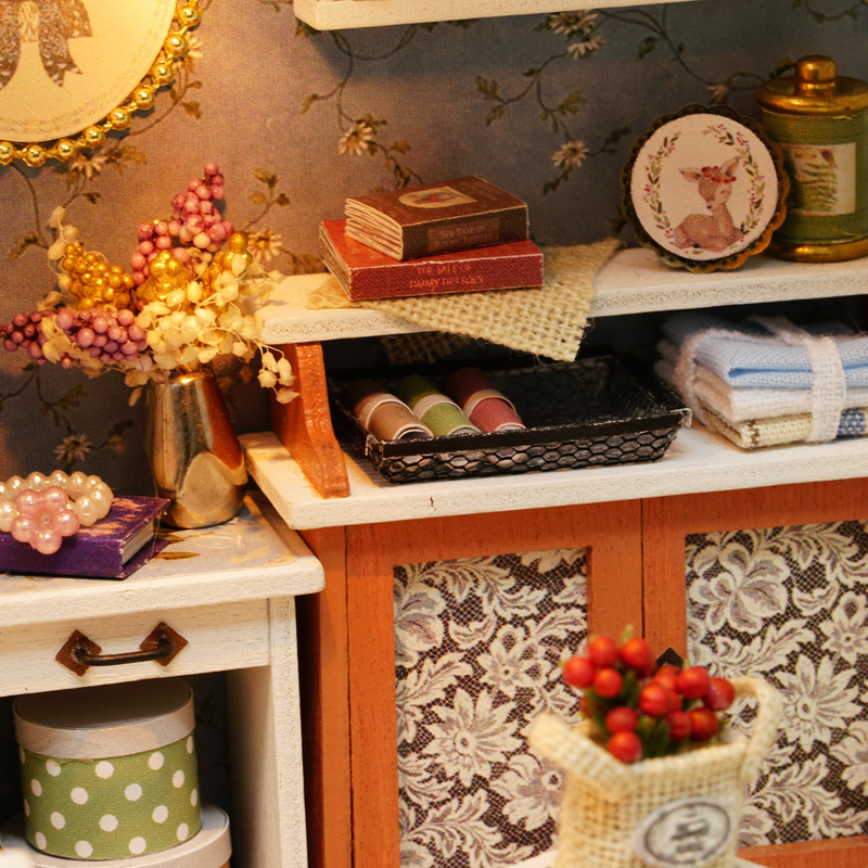 Image 5 - بيت الدمية نموذج مصغر لتقوم بها بنفسك دمية مع الأثاث الأمريكية الرجعية نمط منزل خشبي اليدوية لعبة الغابات مرات Z007 # Eبيوت الدُّمىالألعاب والهوايات -