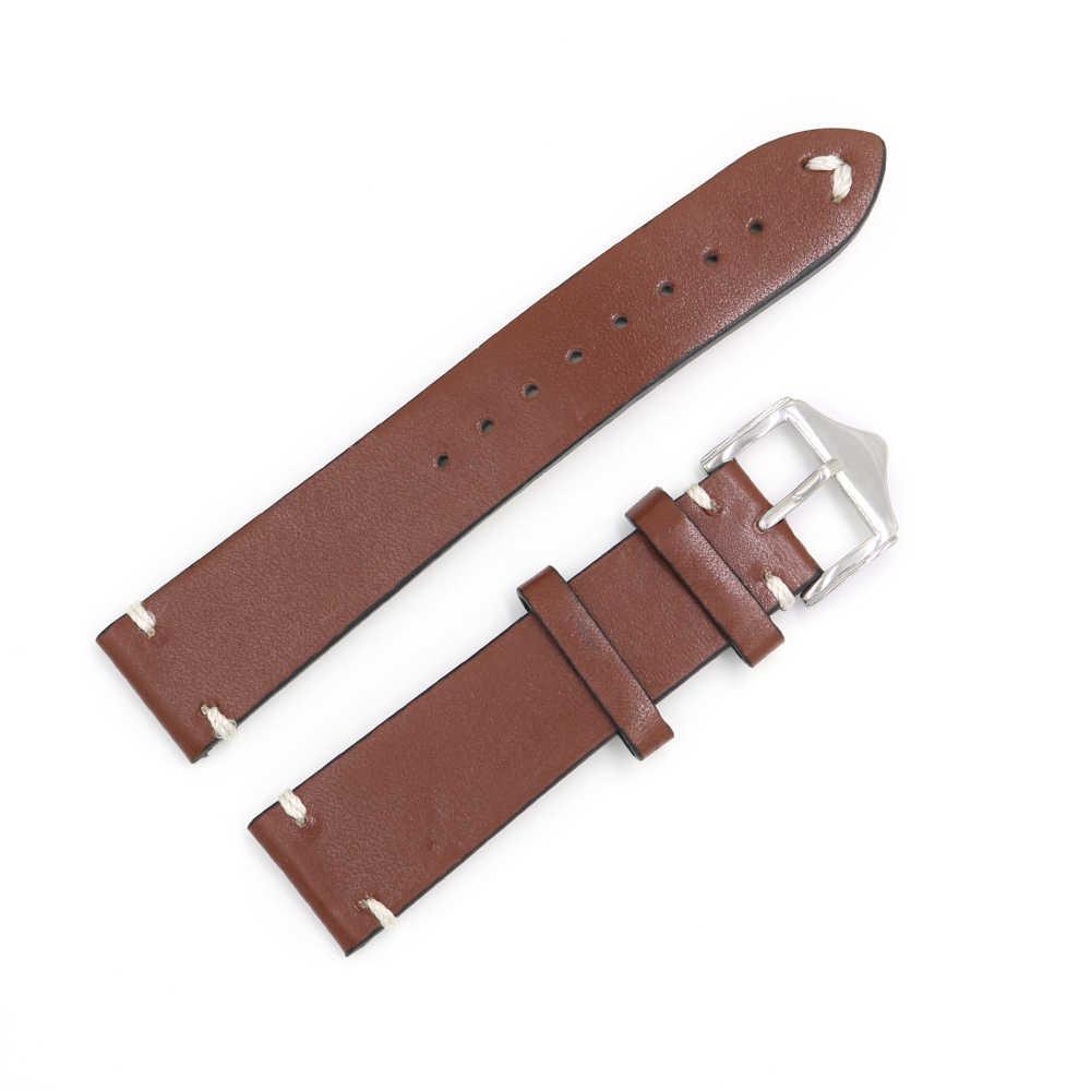 CARLYWET 20 22 24 мм для мужчин и женщин ручной работы кожа коричневый черный красный синий винтажные наручные часы ремешок ремень для Омега Ролекс Panerai