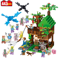 443pcs My Mine World Series Island Forest House Model Building Blocks Kit Minecrafted Village Brick Toys