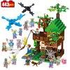 443pcs My Mine World Series Island Forest House Model Building Blocks Kit Minecrafted Village Brick Toys
