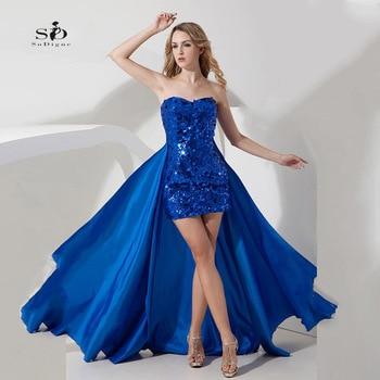 4b34a468d Vestidos de graduación baratos desmontables vestidos de fiesta azul real  sexi lentejuelas Abendkleider 2018 Vestido Graduacion sin tirantes