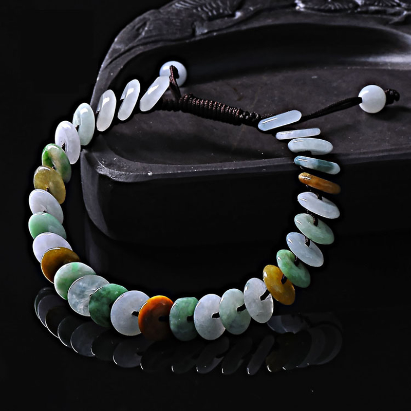 KYSZDL Natural Myanmar Emerald A cargo safely buckle color hand woven bracelet ladies fashion jade jewelry gift in Bracelets Bangles from Jewelry Accessories
