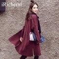 Coreano Coats For Women Otoño Moda de Punto Larga Cazadora Gabardina prendas de Vestir Exteriores de la Manga Completa Solid Ladies Raja Del Lado Caliente de La Venta