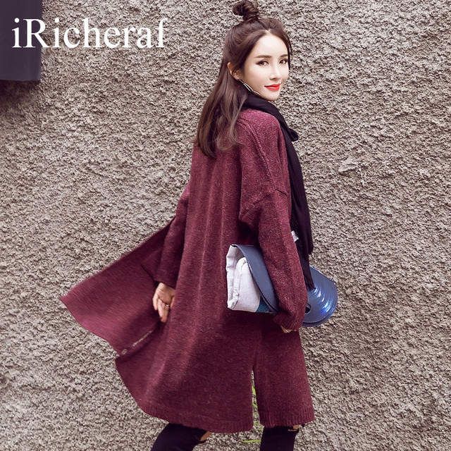 Korean Coats For Women Knitted Long Windbreaker Autumn Fashion Full Sleeve Solid Outerwear Ladies Trenchcoat Side Slit Hot Sale