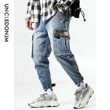 UNCLEDONJM Men Jeans Vintage streetwear hip hop Pocket Biker Mens Casual Denim Cargo Pants S-4XL Plus Size 523W