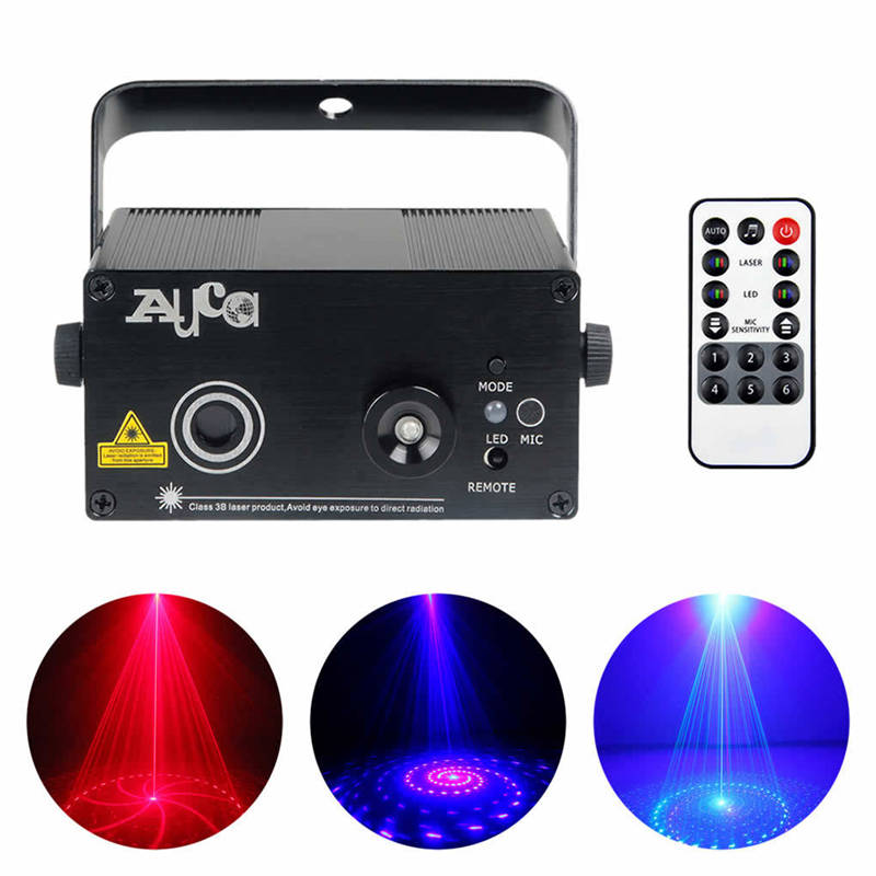 AUCD 9 Patterns RB Laser Projector Stage Lights 3W Blue LED Mixing Effect Remote DJ Home Party KTV Show Stage Lighting Z09RB 3 lens 36 patterns rg blue led new year christmas party laser projector stage lighting dj disco bar party show stage light