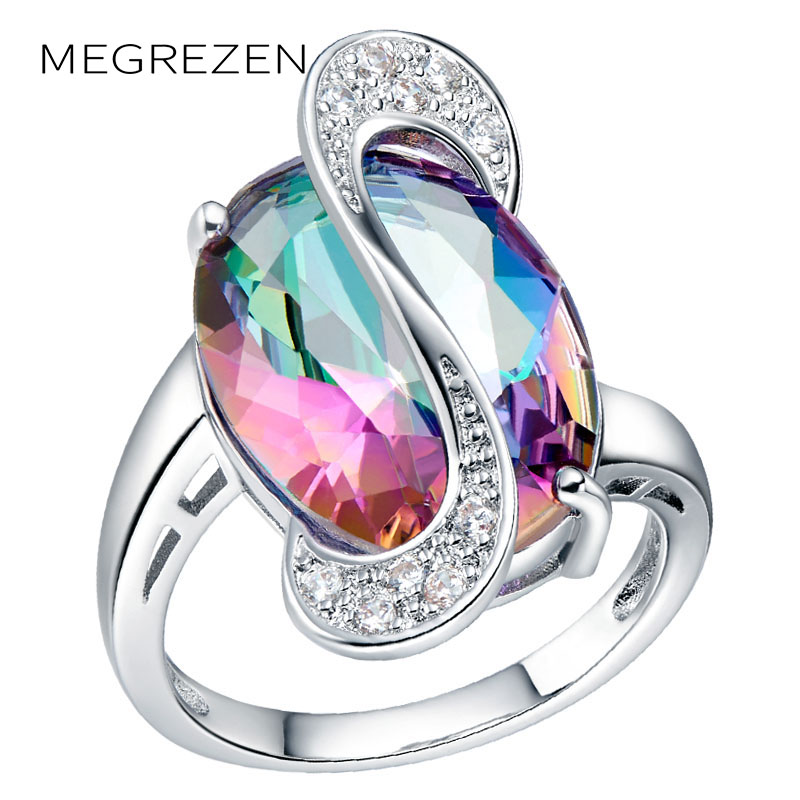 Topaz Mystic Stone Engagement Ring European Bridal Wedding Band Wholesale Big Wedding Rings Rainbow Jewelry For Women A005
