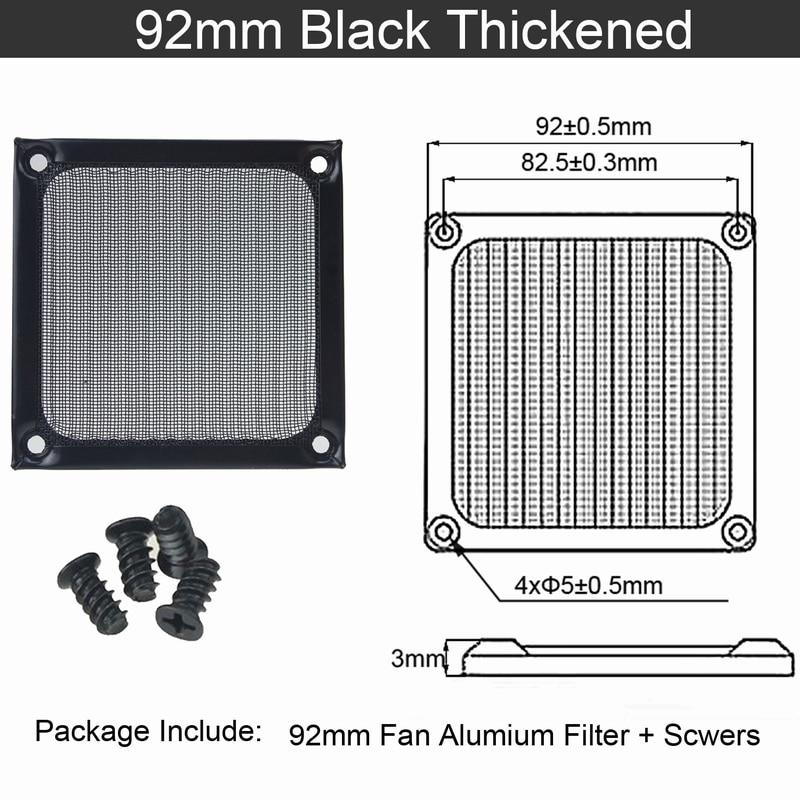 2 шт. Gdstime 60 мм, 80 мм, 92 мм 120 мм 140 мм пылезащищенный вентилятор фильтр Алюминий компьютер чехол сетка вентилятора Пылезащитный чехол 14 см на высоком каблуке 12 см, 9 см, 8 см, 6 м - Цвет лезвия: 9cm thickened Black