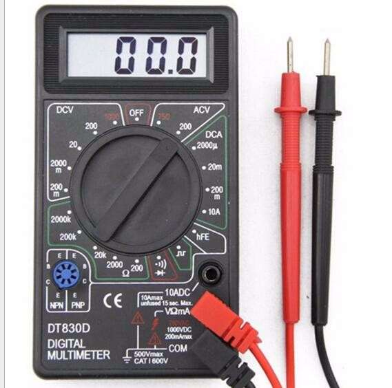 100pcs by DHL Fedex Digital Multimeter DT830D Voltmeter Ammeter Meter with Buzzer DC AC volt Voltage Ampere detector +Test Probe 1