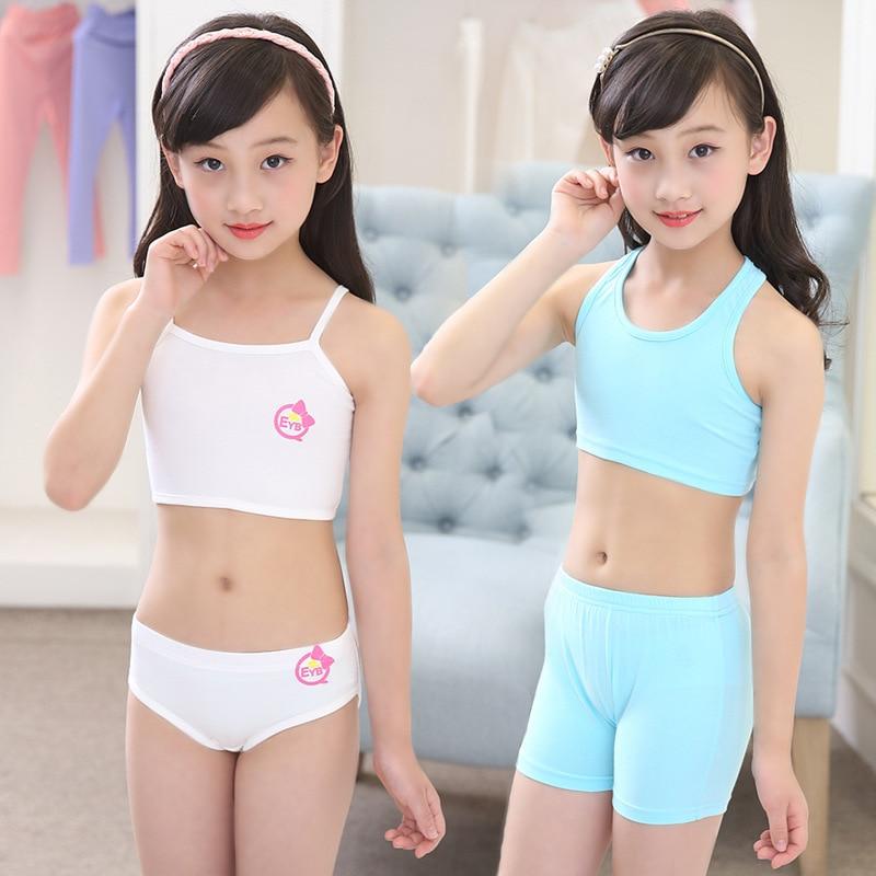 Pure Cotton Girls Bras Panties 2 Sets Underwear Sports Bra Underwaist Student Briefs Knickers Girl Female girl