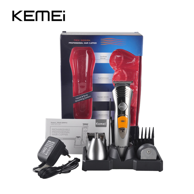 Kemei KM-580A 7in1 rahvusvahelised pardelehed raseerimismasinaga raseerimismasinaga laetav nina kõrva juuste trimmer Clipper Afeitadora