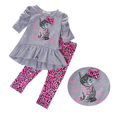 2015 Baby Toddler Kids Girls Outfit Clothes Half Sleeve Cute Kitten Cat Printed Bow T-shirt Dress +Leopard Long Pants 2PCS Set