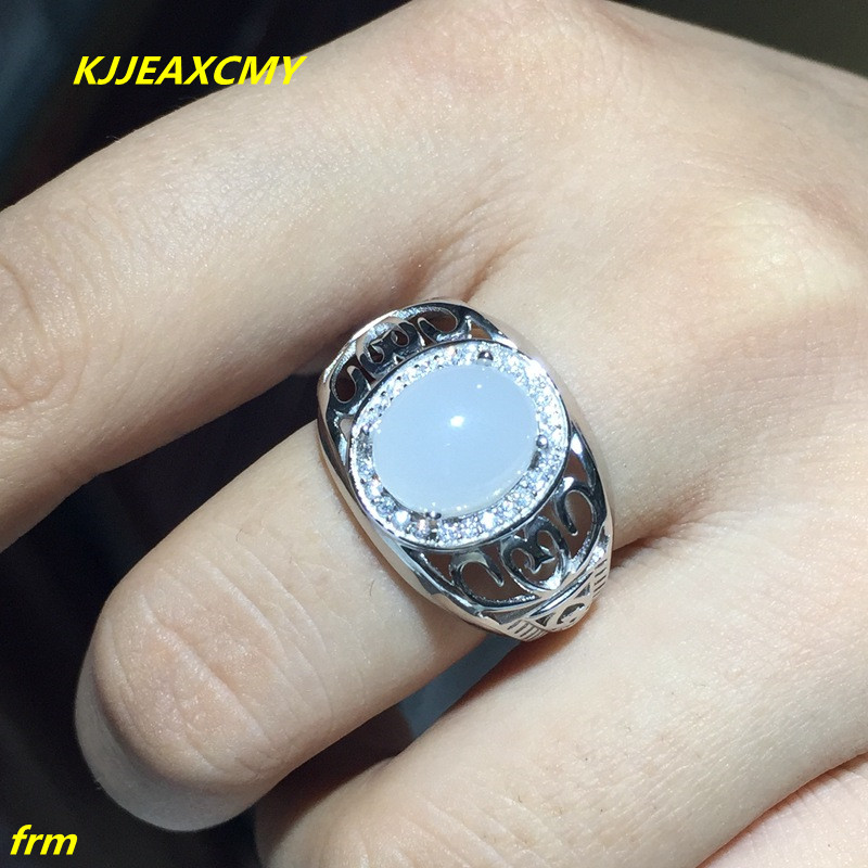 KJJEAXCMY Fine jewelry 925 sterling silver ring inlaid natural chalcedony Mens Ring support identification kjjeaxcmy fine jewelry 925 sterling silver inlaid natural amethyst ring wholesale opening ladies adjustable support testing