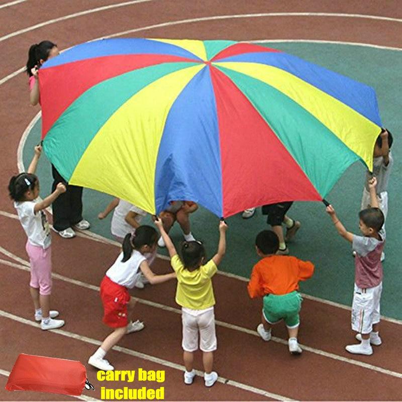 Մանկական սպորտային բացօթյա ծիածանի հովանոց, 16feet / 5 մետր պարաշյուտ խաղալիք ծնողներ Երեխաներ ճամբարային ինտերակտիվ խաղալիք ցատկով պարկի համար