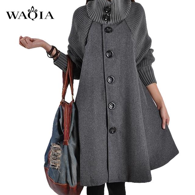 Nuevo Otoño Invierno de Lana Capa abrigo Largas Secciones Costura Suelta Abrigo casaco feminino Plus Size Abrigo Chaquetas de Manga de Punto