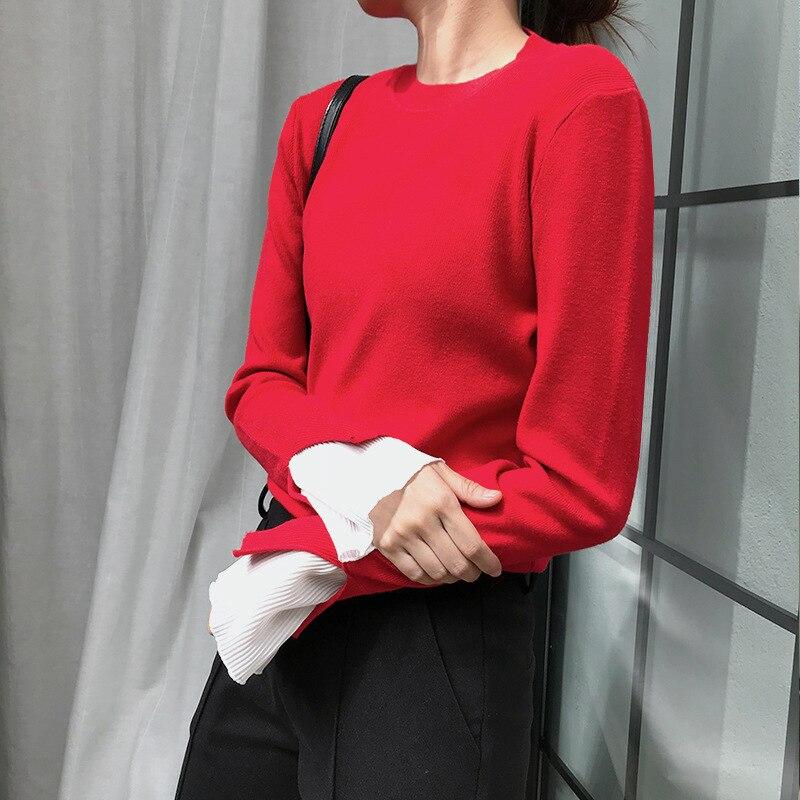 Suéter Corea Invierno Mujeres Las Suéteres Larga Jumper blanco Punto azul  Manga 2018 Camisa Delgado Negro rojo De Moda Flare Diseño Otoño Y1qYpZw 39ce506b0c303