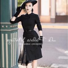 Осеннее и зимнее модное черное асимметричное женское платье русалки шерстяное офисное женское платье