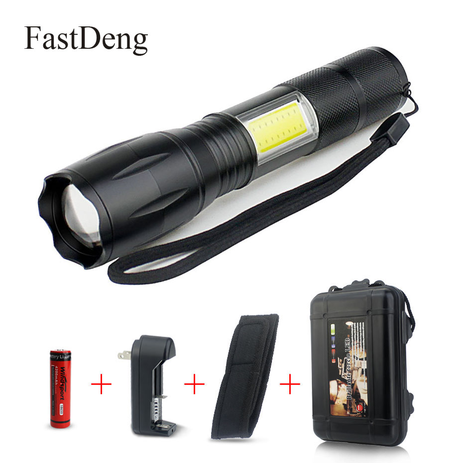 LED Flashlight COB Side Lamp Design T6 2000 Lumens Zoomable Rechargeable LED Torch 4 Light Modes For 18650 Battery + Charger