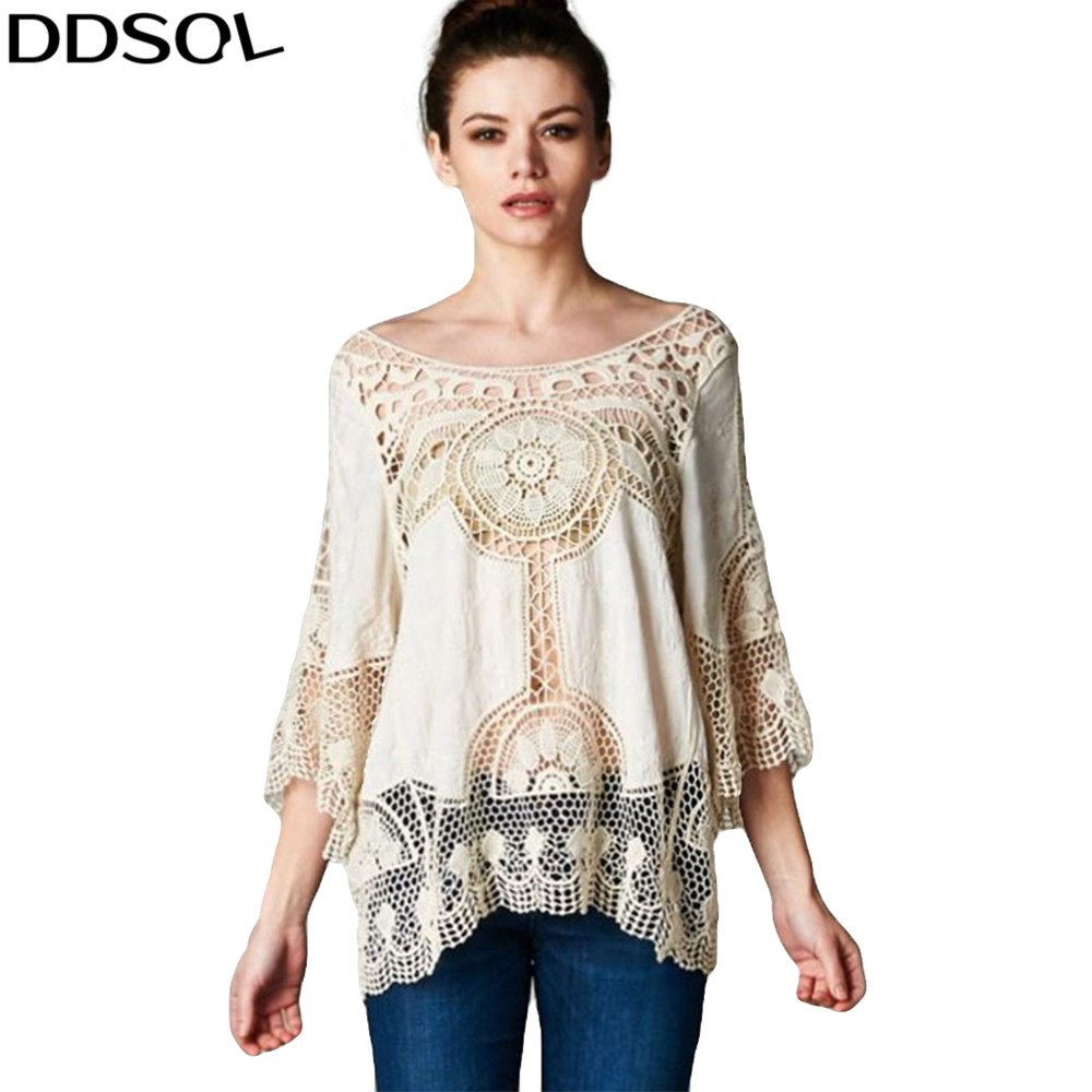 DDSOL Sexy Hollow Hook Flowers Bikini Cover Up Shirt Blouse Summer Style Casual Loose Beach Blaus Chiffon Shirts Tops For Women