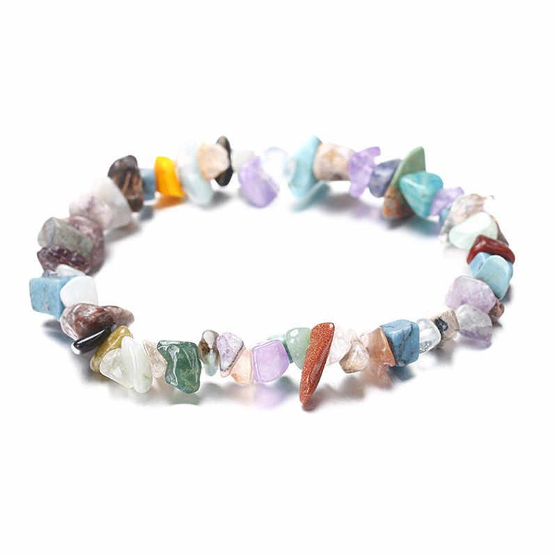 Natural de Cascalho de Cristal Pulseira Elástica para As Mulheres Imitação Opala Natural Pedra Contas Encantos Pulseiras & Bangles Presente para As Meninas