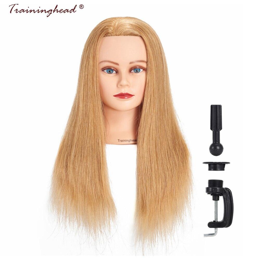 Traininghead 24-26 человеческих волос блондинка парик Манекен головы девушка длинные волосы Учебные головы-манекены профессиональные невесты Пар...