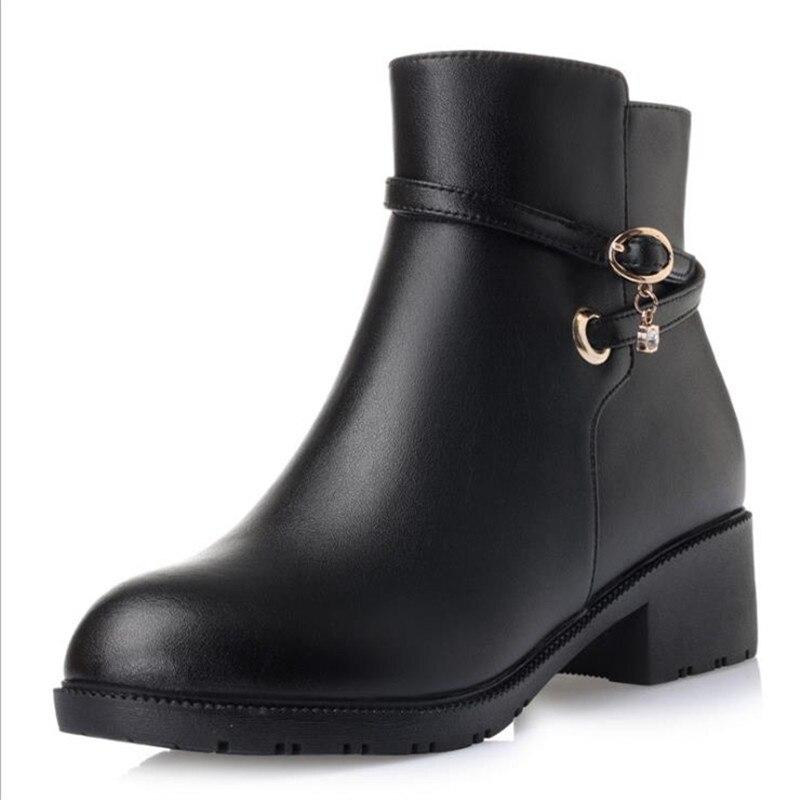 2018 High-end! Для женщин зимние сапоги Роскошные зимние натуральный размер 34-45 лисий мех Gneuine зимние кожаные туфли из хлопка Женские ботинки B60