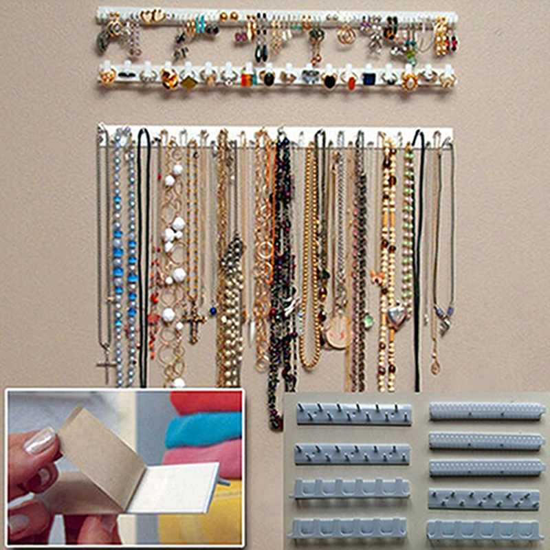 Adhesive Jewelry Earring Necklace Hanger Holder Organizer Display Rack Sticky Hooks Wall Mount Stand Tray