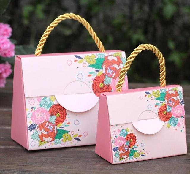 100pcs Lot Wedding Paper Gift Bags With Handles Favors For Guests Pink Purple