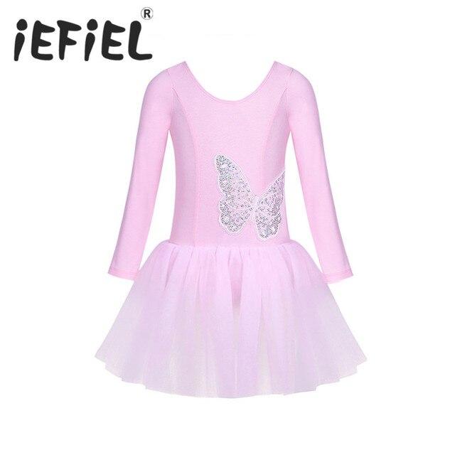 IEFiEL/детское хлопок Тюль одежда с длинным рукавом блестками бабочка для бальных танцев гимнастическое платье-пачка детское платье для сцены