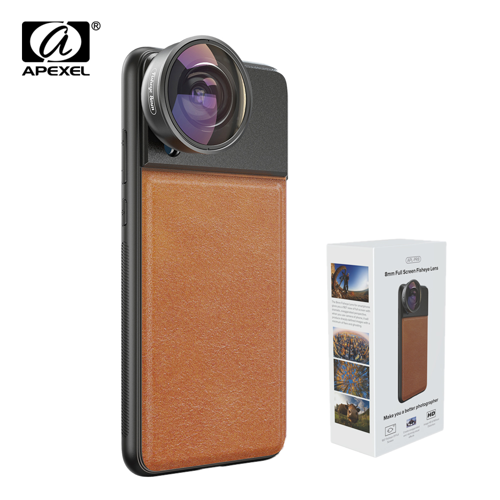APEXEL 185 Degree Phone Camera Full Frame Fisheye Lens 8mm HD Mobile Lens With 17mm Cellphone Case For iPhone Samsung s10 Xiaomi
