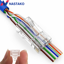 NASTAKO 50/100x Cat5e Cat6เชื่อมต่อRJ45เชื่อมต่อez RJ45 Cat6เครือข่ายเคเบิ้ลเสียบUnshielded Modular UTPขั้วมีหลุม