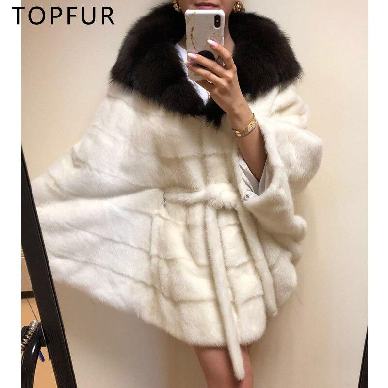 TOPFUR Luxury Loose Bat Sleeve Mink Fur PonchoWomen White Mink Fur Coat Solid Natrual Mink With Big Fox Fur Turndown Collar