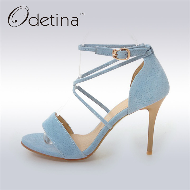 Odetina 2017 Fashion Women Nude Suede Sexy High Heel Sandals Stiletto Peep Toe Ankle Strap Buckle Summer Party Shoes Big Size 48 wholesale lttl new spring summer high heels shoes stiletto heel flock pointed toe sandals fashion ankle straps women party shoes