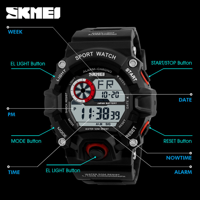 S SHOCK Men Sports Watches SKMEI Luxury Brand Camouflage Military Watches Digital LED Waterproof Wristwatches Relogio Masculino