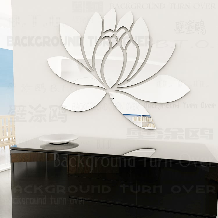 Various color elegant lotus flower acrylic mirror wall stickers for girls bedroom decor living room R063