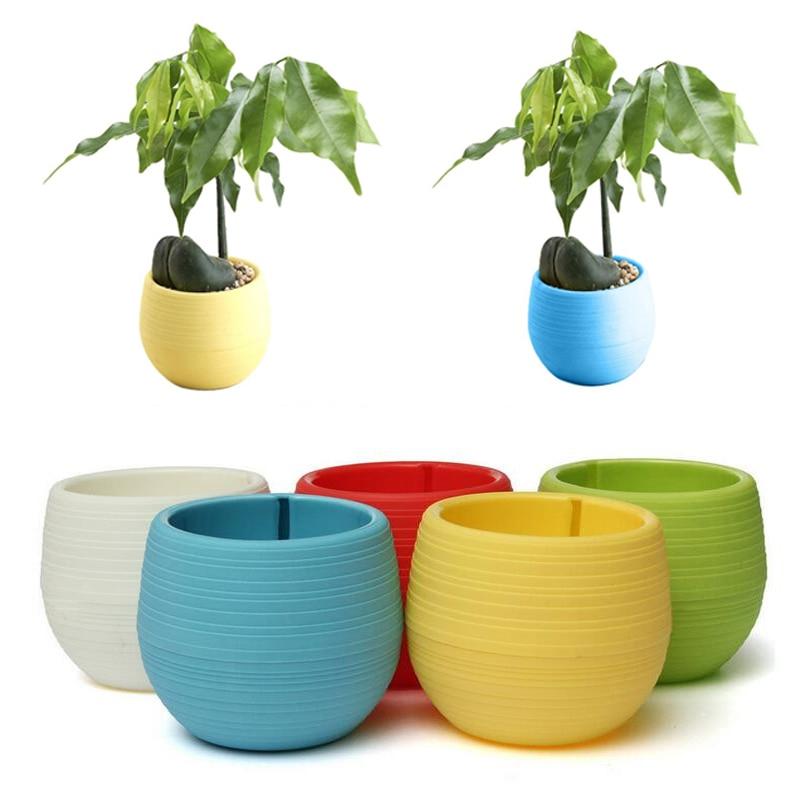 Small Cute Round Home Garden Office Decor Planter Plastic Plant Flower Pots US