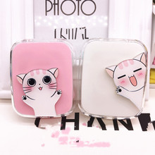 LIUSVENTINA DIY acrylic cute portable white cat contact lens case for glasses spectacle case for color lens