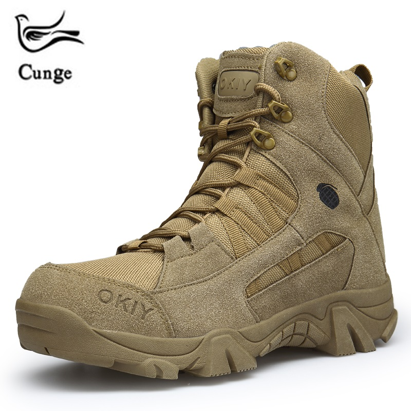 Cunge Military Boots Men 2018 Fashion Army Boots Men' s Tactical Desert Combat High Top Ankle Boots Men Outdoor Work Shoes Men